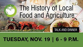 promotion for The History of Food and Agriculture event
