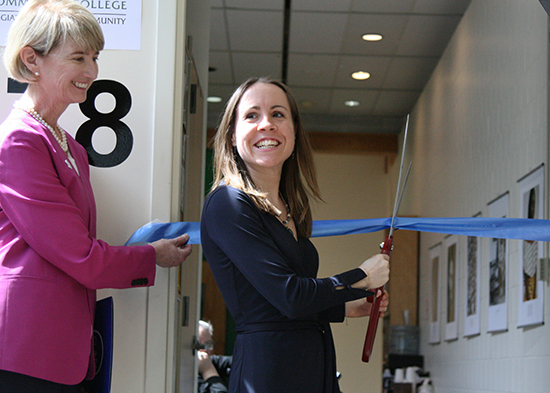 SUNY Chancellor Kristina Johnson and College AOD Prevention Coordinator Sara Watrous