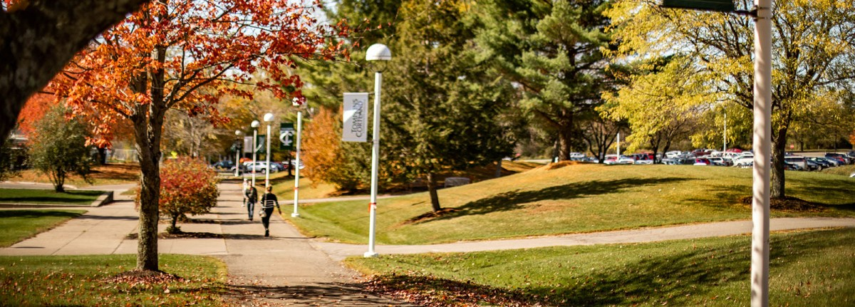 Students walking to class on Dryden Campus