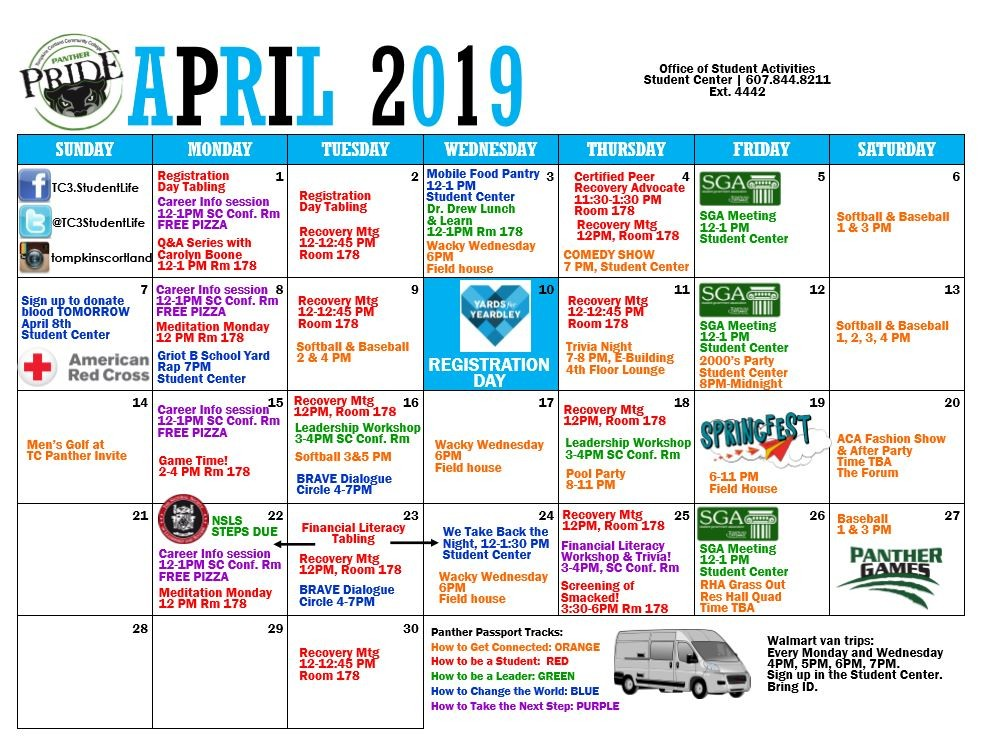 Student Activities Calendar of Events for April 2019