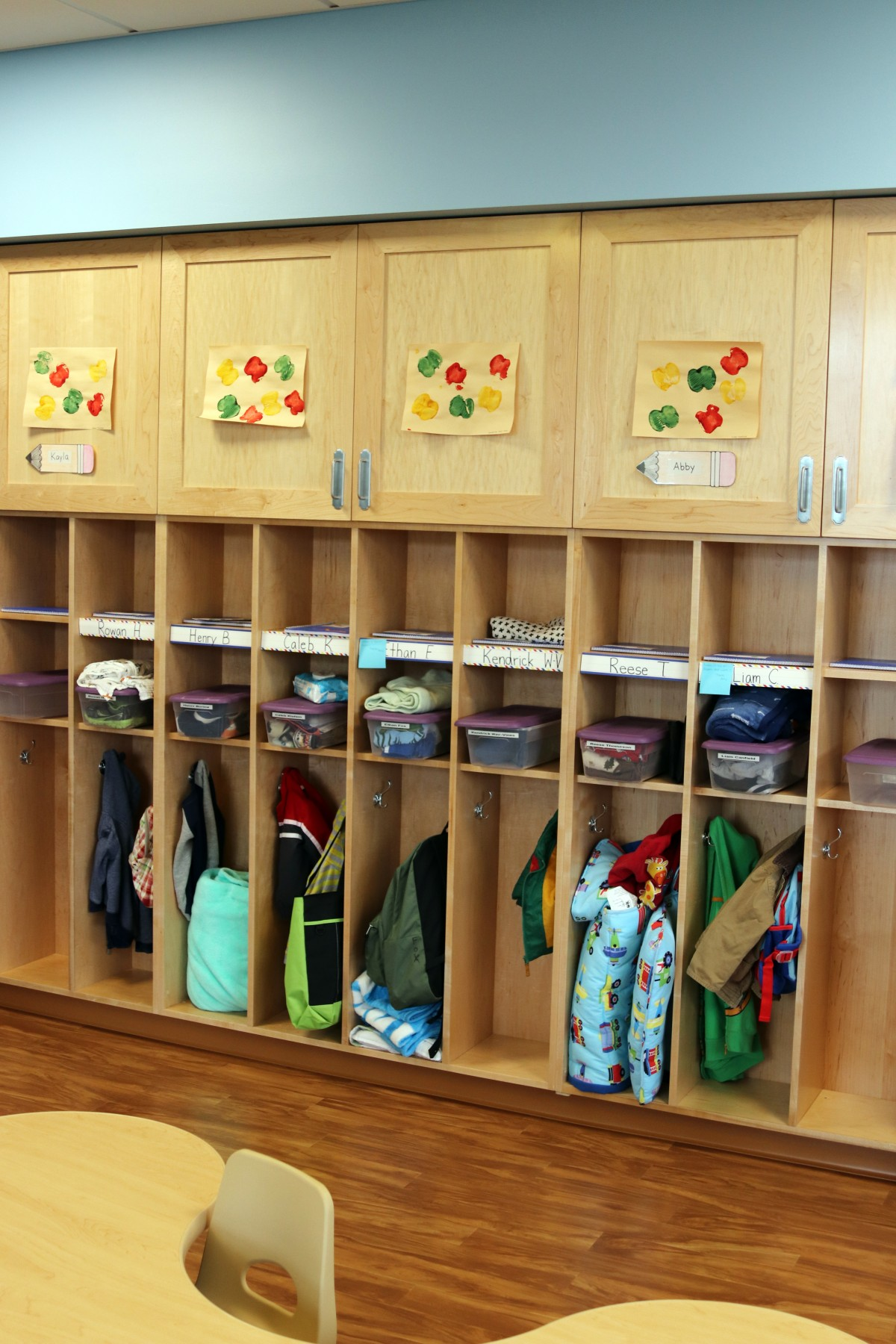 Coat lockers in childcare center