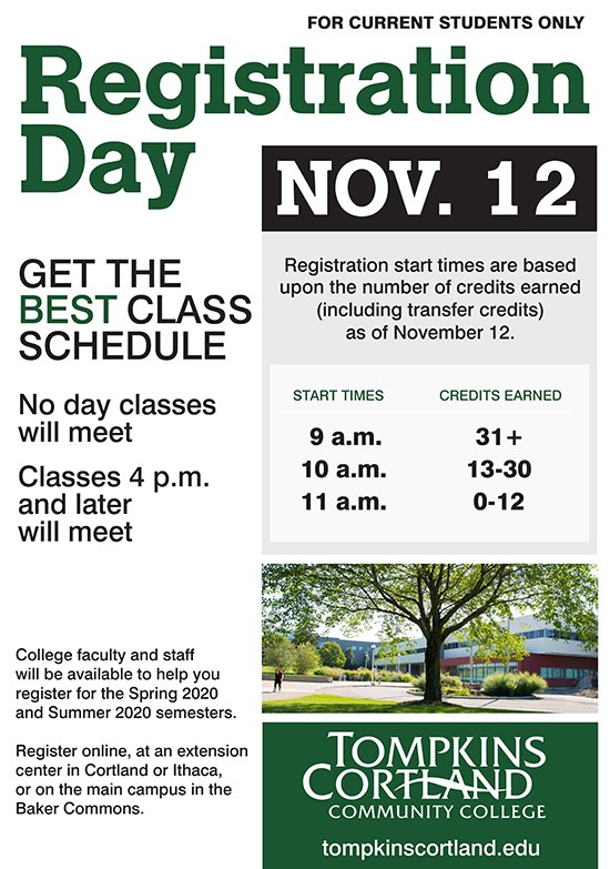 registration day poster with hours
