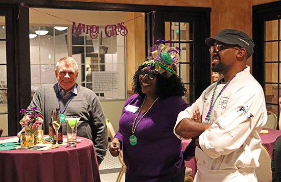 President Montague with Chef Blackman at the Coltivare Mardi Gras event
