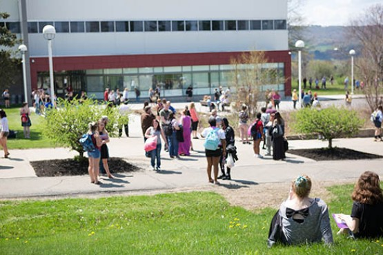 Students gathered outside of Dryden Campus
