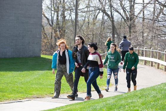 Students walking to campus from dorms