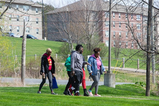 Students walking to class from dorms